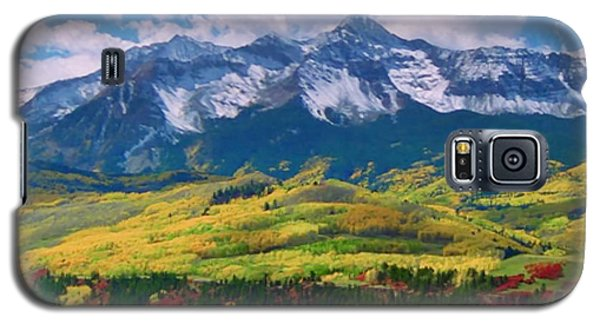 Facinating American Landscape Flowers Greens Snow Mountain Clouded Blue Sky  Galaxy S5 Case by Navin Joshi