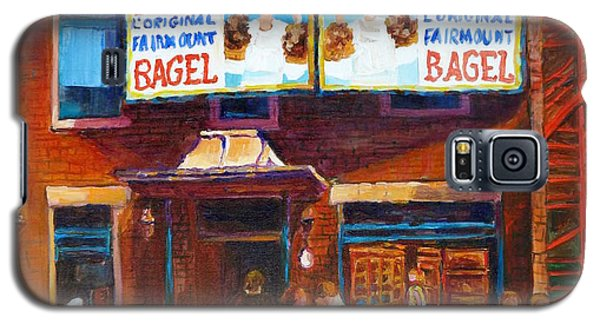 Galaxy S5 Case featuring the painting Fairmount Bagel With Blue Car  by Carole Spandau