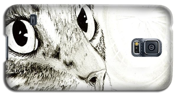 Galaxy S5 Case featuring the drawing Fairy Light Tabby Cat Drawing by Carrie Hawks