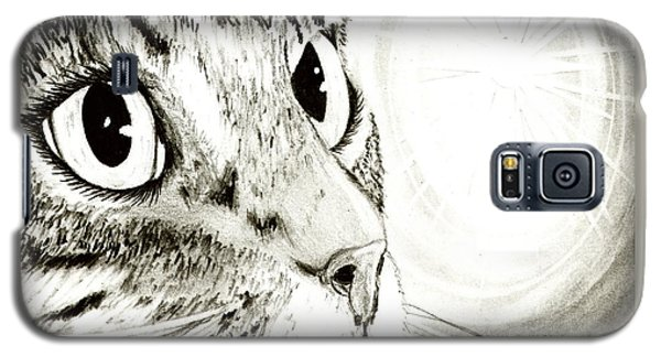 Fairy Light Tabby Cat Drawing Galaxy S5 Case by Carrie Hawks