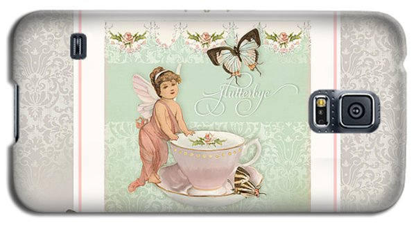 Bunting Galaxy S5 Case - Fairy Teacups - Flutterbye Butterflies And English Rose Damask by Audrey Jeanne Roberts