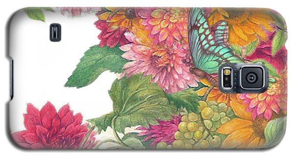 Galaxy S5 Case featuring the painting Fall Florals With Illustrated Butterfly by Judith Cheng