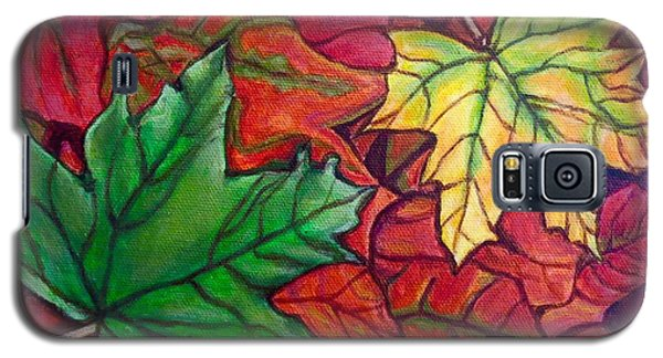 Galaxy S5 Case featuring the painting Falling Leaves I Painting by Kimberlee Baxter