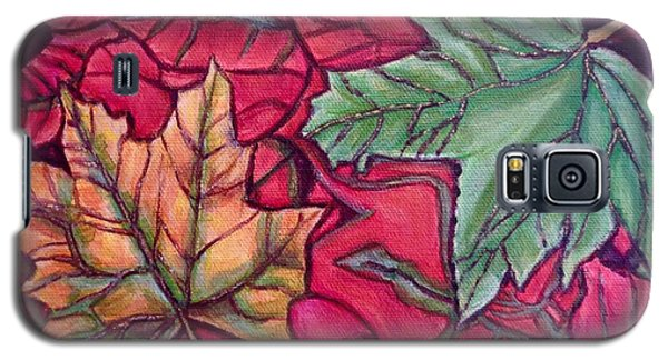 Galaxy S5 Case featuring the painting Falling Leaves Two Painting by Kimberlee Baxter