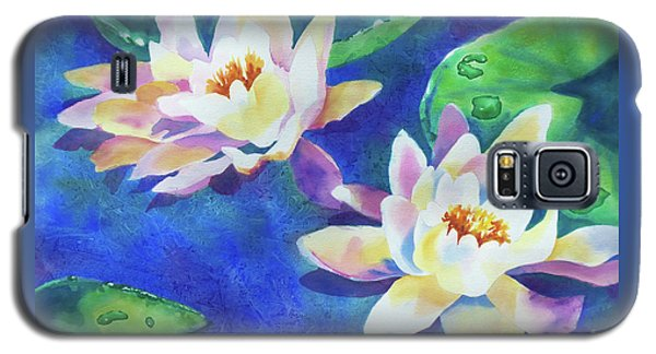 Galaxy S5 Case featuring the painting Fancy Waterlilies by Kathy Braud