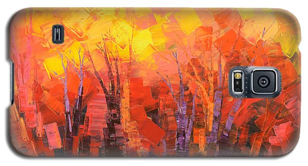 Galaxy S5 Case featuring the painting Fantastic Fire by Tatiana Iliina