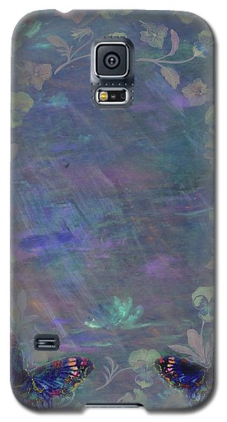 Galaxy S5 Case featuring the painting Fantasy Butterfly Painted Pansy by Judith Cheng