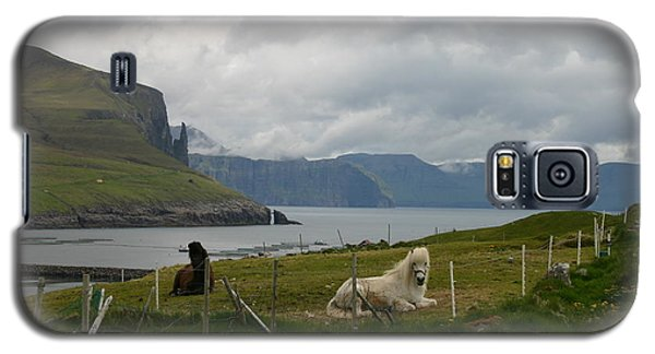 Galaxy S5 Case featuring the photograph Faroe Islands Horses by Susanne Baumann