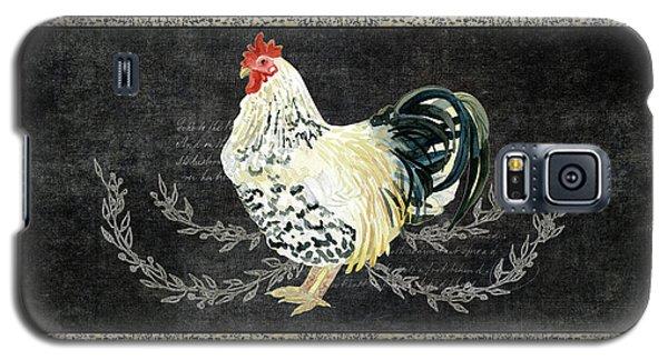 Farm Fresh Rooster 3 - On Chalkboard W Diamond Pattern Border Galaxy S5 Case by Audrey Jeanne Roberts