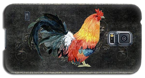 Farm Fresh Rooster 4 - On Chalkboard W Diamond Pattern Border Galaxy S5 Case by Audrey Jeanne Roberts