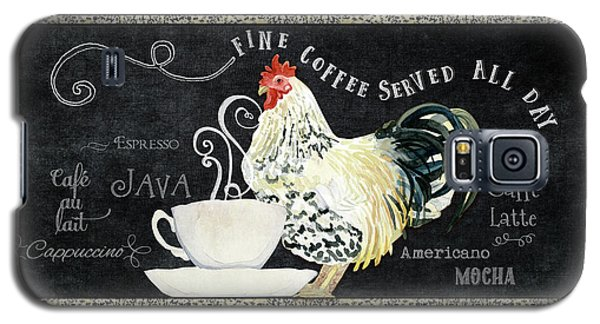Galaxy S5 Case featuring the painting Farm Fresh Rooster 5 - Coffee Served Chalkboard Cappuccino Cafe Latte  by Audrey Jeanne Roberts