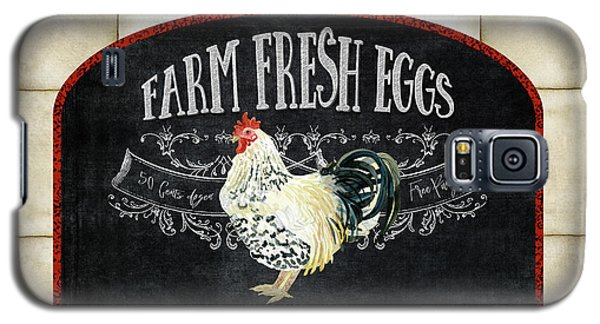 Galaxy S5 Case featuring the painting Farm Fresh Roosters 1 - Fresh Eggs Typography by Audrey Jeanne Roberts
