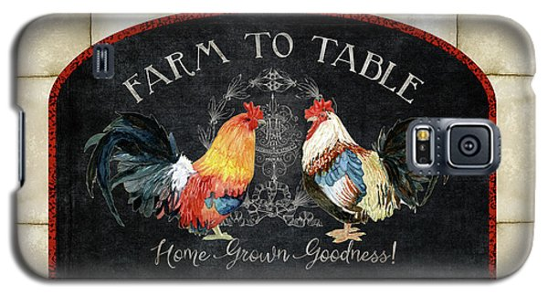 Galaxy S5 Case featuring the painting Farm Fresh Roosters 2 - Farm To Table Chalkboard by Audrey Jeanne Roberts