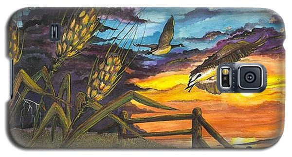 Galaxy S5 Case featuring the painting Farm Sunset by Darren Cannell