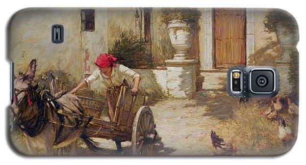 Farm Yard Scene Galaxy S5 Case by Henry Herbert La Thangue