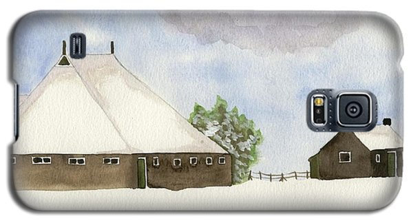 Galaxy S5 Case featuring the painting Farmhouse In The Snow by Annemeet Hasidi- van der Leij
