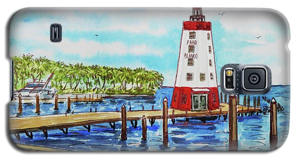 Galaxy S5 Case featuring the painting Faro Blanco Lighthouse Florida Keys by Irina Sztukowski