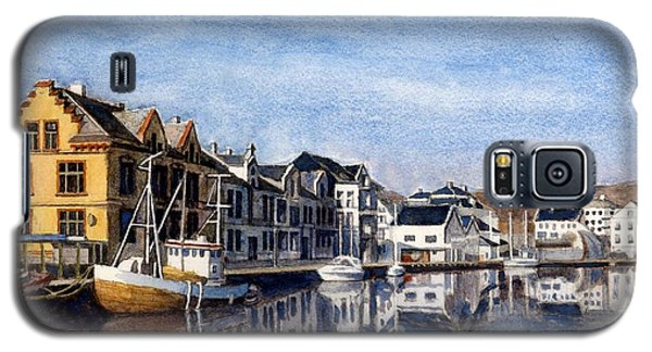 Galaxy S5 Case featuring the painting Farsund Dock Scene 2 by Janet King