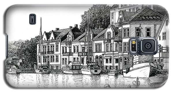 Galaxy S5 Case featuring the drawing Farsund Harbor In Ink by Janet King