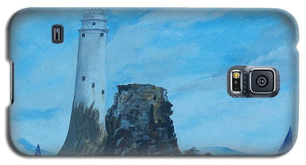 Galaxy S5 Case featuring the painting Fastnet Rock Lighthouse. by Conor Murphy