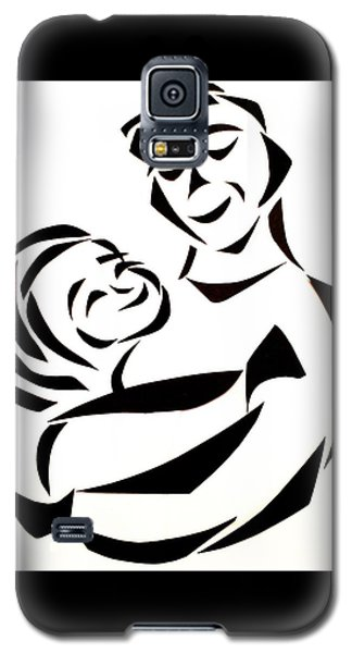 Galaxy S5 Case featuring the mixed media Father And Child by Delin Colon