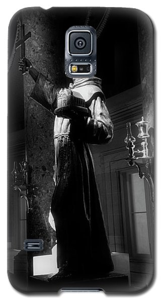 Galaxy S5 Case featuring the photograph Father Junipero Serra In Black And White by Chrystal Mimbs