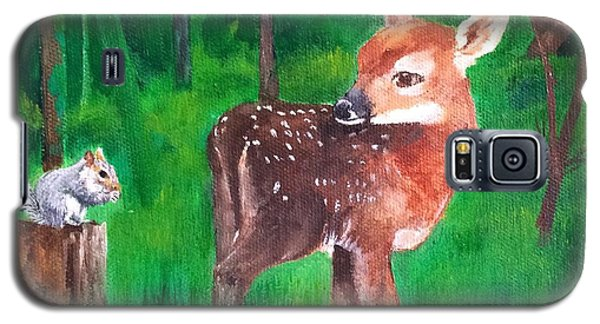Galaxy S5 Case featuring the painting Fawn With Squirrel by Ellen Canfield