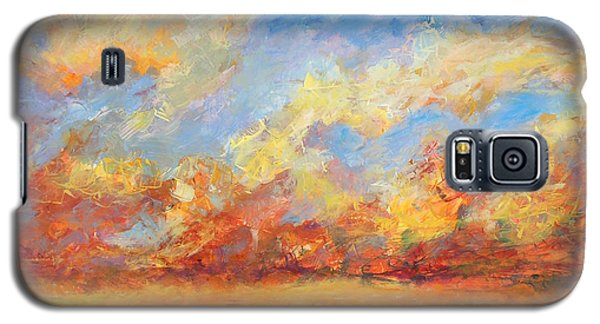 Galaxy S5 Case featuring the painting Feathered Sky by Mary Schiros