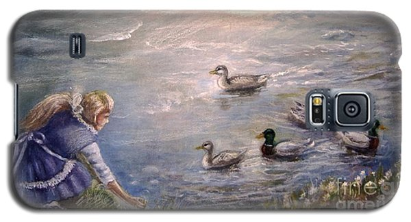 Galaxy S5 Case featuring the painting Feeding Time by Patricia Schneider Mitchell