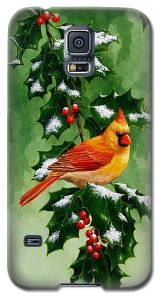 Female Cardinal And Holly Phone Case Galaxy S5 Case by Crista Forest