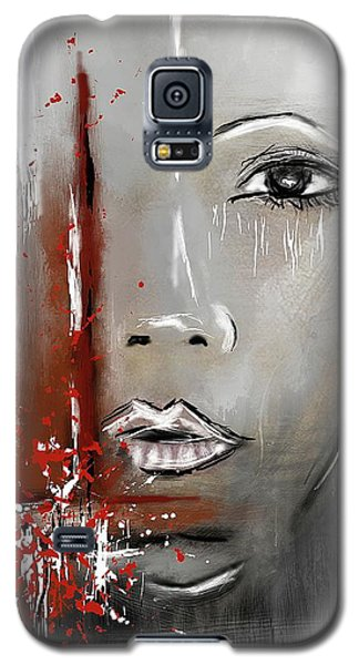 Female Half Face On Grey Abstract Galaxy S5 Case