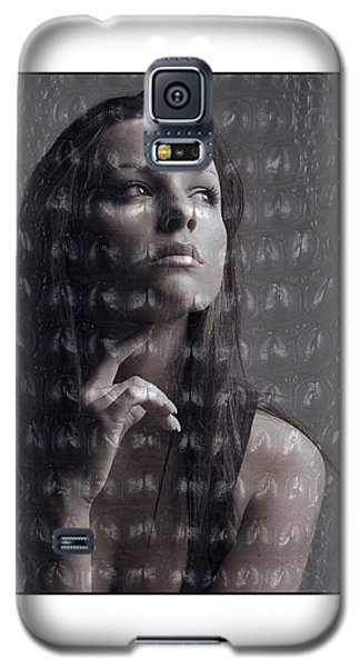 Galaxy S5 Case featuring the photograph Female Portrait With Reptile Texture by Michael Edwards