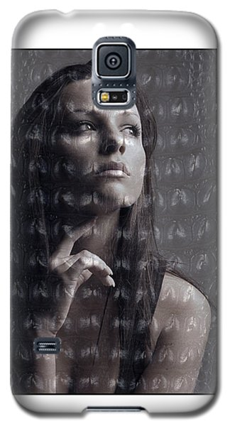 Female Portrait With Reptile Texture Galaxy S5 Case by Michael Edwards