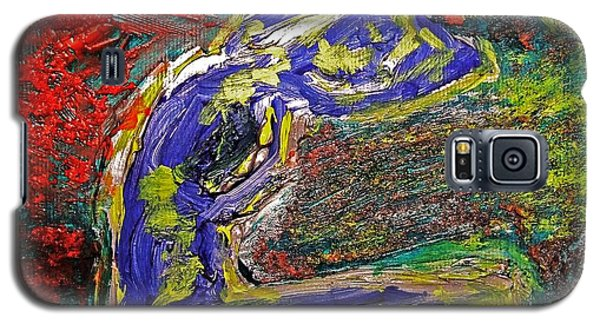 Galaxy S5 Case featuring the painting Female Washing Hair With Bold Primary Colors Textures And Expressionism  by MendyZ M Zimmerman