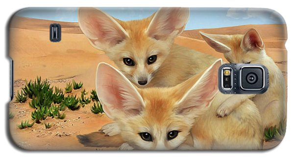 Galaxy S5 Case featuring the digital art Fennec Foxes by Thanh Thuy Nguyen