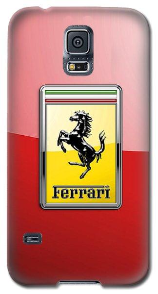 Ferrari 3d Badge-hood Ornament On Red Galaxy S5 Case by Serge Averbukh