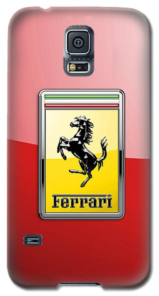 Ferrari 3d Badge-hood Ornament On Red Galaxy S5 Case