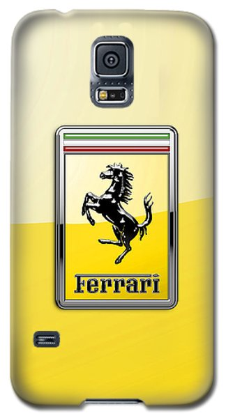 Ferrari 3d Badge- Hood Ornament On Yellow Galaxy S5 Case