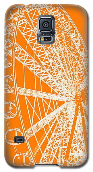 Ferris Wheel Silhouette Orange White Galaxy S5 Case