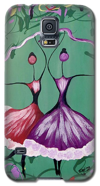Galaxy S5 Case featuring the painting Festive Dancers by Teresa Wing