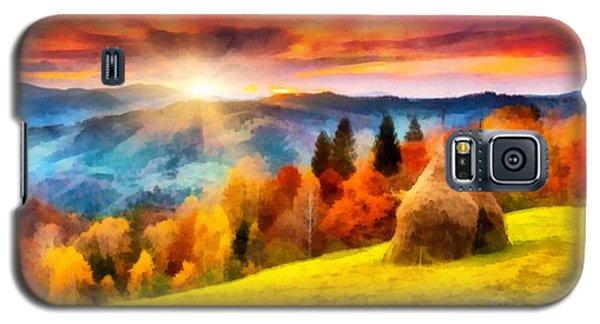 Field Of Autumn Haze Painting Galaxy S5 Case