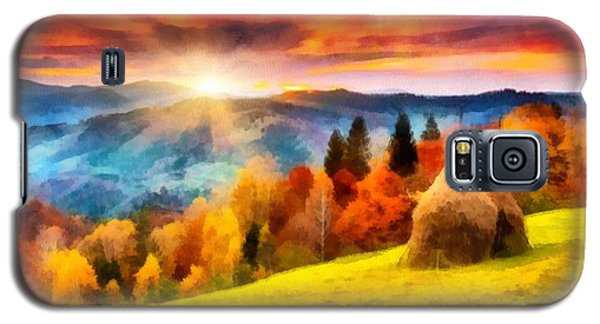 Galaxy S5 Case featuring the painting Field Of Autumn Haze Painting by Catherine Lott