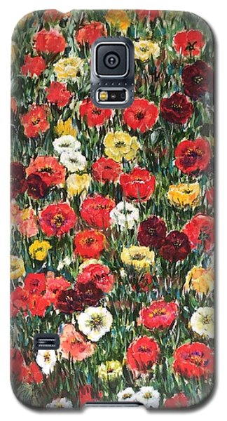 Galaxy S5 Case featuring the painting Field Of Puppies  by Laila Awad Jamaleldin