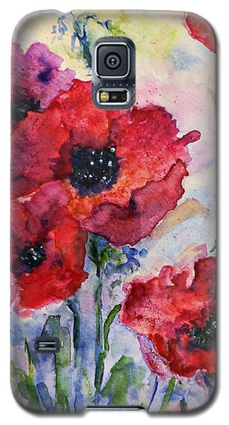 Field Of Red Poppies Watercolor Galaxy S5 Case by AmaS Art