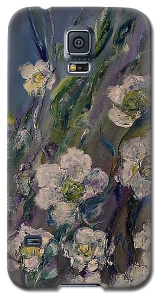 Galaxy S5 Case featuring the painting Fields Of White Flowers by AmaS Art