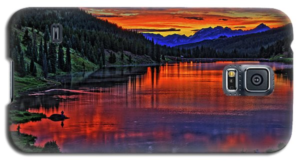 Galaxy S5 Case featuring the photograph Fiery Lake by Scott Mahon