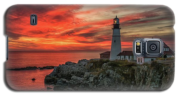 Fiery Sunrise At Portland Head Light Galaxy S5 Case