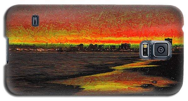 Galaxy S5 Case featuring the digital art Fiery Sunset by Mariola Bitner