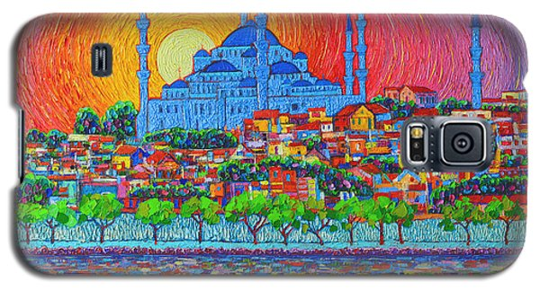 City Sunset Galaxy S5 Case - Fiery Sunset Over Blue Mosque Hagia Sophia In Istanbul Turkey by Ana Maria Edulescu