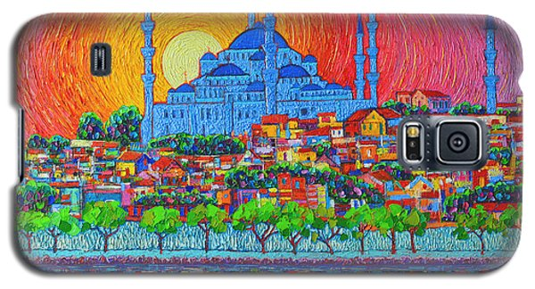 Fiery Sunset Over Blue Mosque Hagia Sophia In Istanbul Turkey Galaxy S5 Case